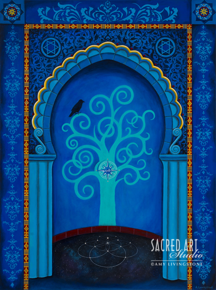 "Mihrab Tree of Life: 2014, 36x48,"" Acrylic & Jewels. Inspired by the Islamic Tradition"